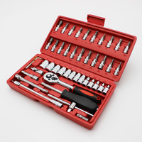 46pcs Mechanics Tool Set with case Metric socket bit wrench repair kit