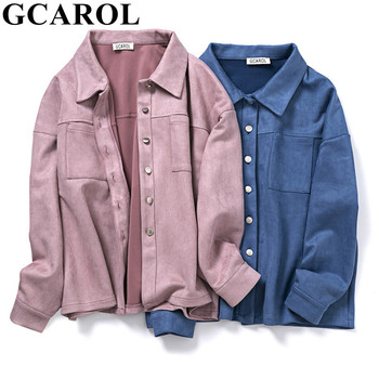 GCAROL Women Turn-Down Collar Velvet Jacket Single-breasted Drop Shoulder Thick Oversized Coat SpringAutumn Winter Overalls 1