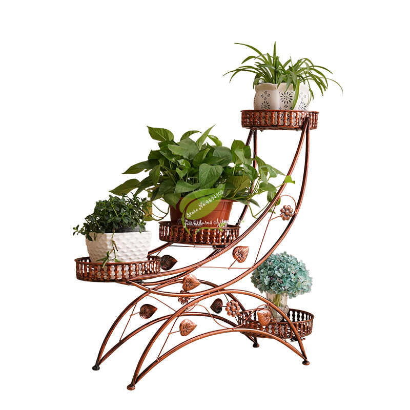 Multi-layer Wheeled Iron Flower Stand Mobile Rack Assembly Corner Living Room Balcony Simple Rural Bonsai Stand Thicker Material