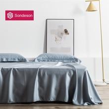Sondeson Luxury 100% Silk Gray Flat Sheet 25 Momme Silk Queen King Standard Healthy Skin Bed Sheet Pillowcase For Women Men Kids