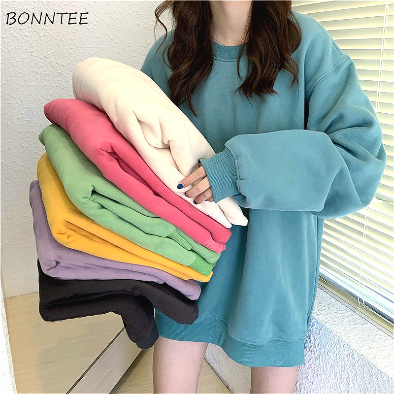 Hoodies Women Plus Velvet Warm All-match Solid Oversize Ulzzang Korean Style Womens O-Neck Students Harajuku Hoodie Streetwear