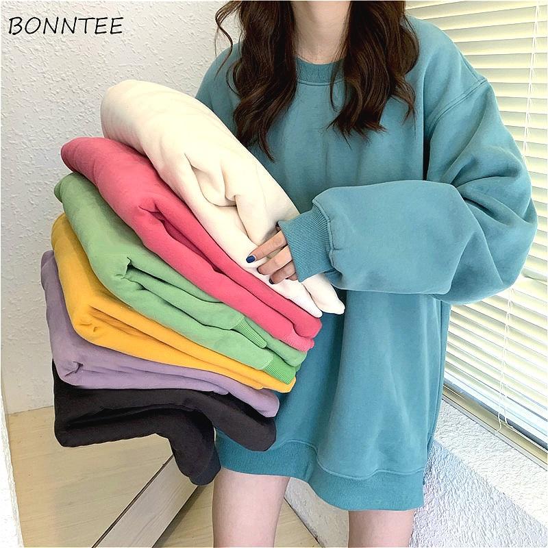 Hoodies Women Plus Velvet Warm All-match Solid Oversize Ulzzang Korean Style Womens O-Neck Students Harajuku Hoodie Streetwear