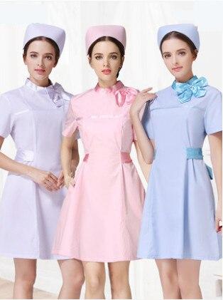 New Design 2019 Women O Neck Short Sleeve Nurse Work Wear Uniforms Doctors Scrubs Hospital Beauty Salon Medical Dress Gown Coat