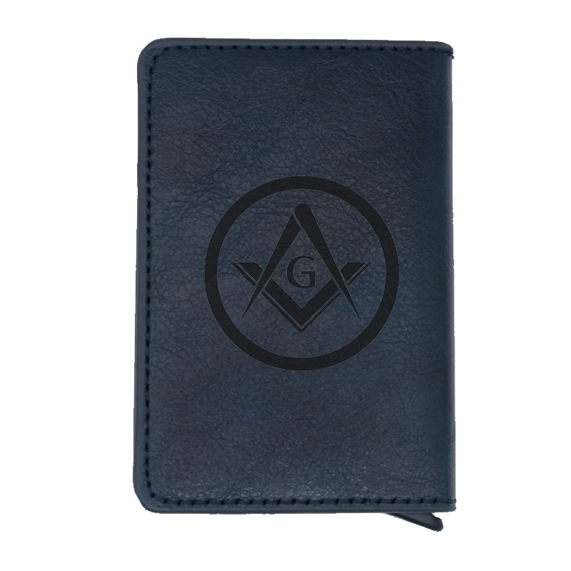 Classic Blue Free And Accepted Masons Rfid Credit Card Holder Anti-Theft Automatic Wallet Card Case Men Mini Leather Male Purse