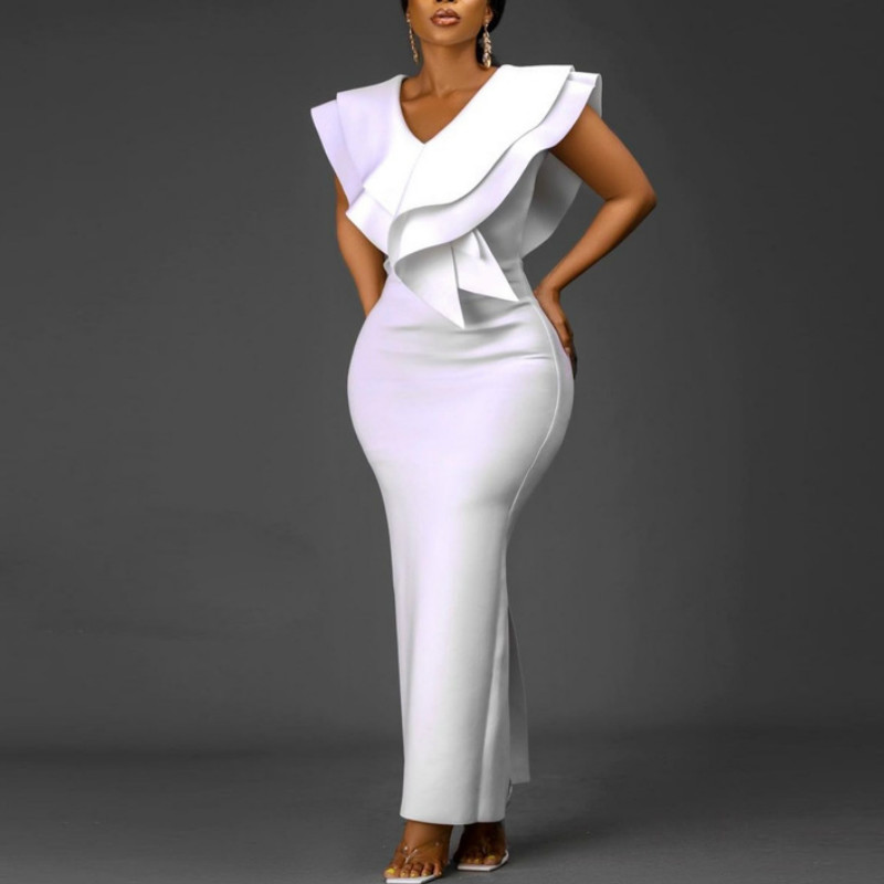 Women White Long Dress V Neck Ruffles Sexy Party Celebrate Bodycon Event Occasion Vestidos Female Robes Night Date Out Clubwear 1