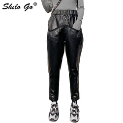 Genuine Leather Pants Plus Size Single Breasted Front High Waist Sheepskin Harem Pants Women Autumn Casual Pocket Trousers