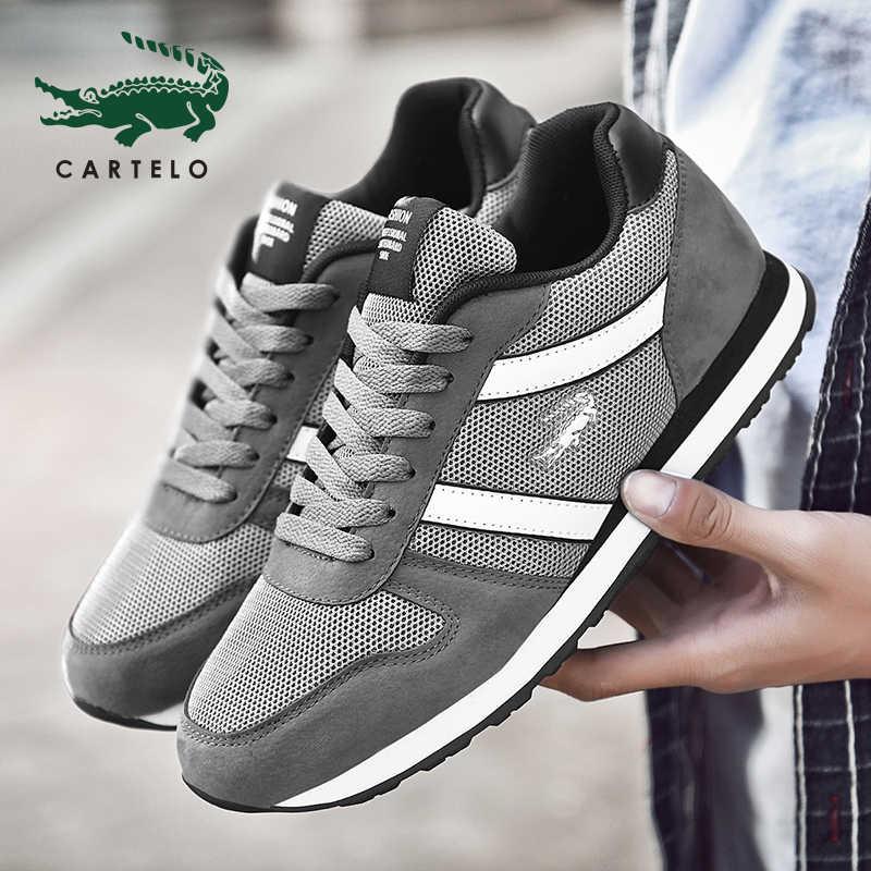 CARTELO Primavera E No Verão de Moda Mens Sapatos Casuais Lace-Up Sapatos Respirável Sapatilhas Dos Homens Formadores Zapatillas Hombre