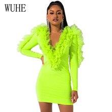 WUHE New Stylish High Waist Bodycon Mini Dress Femme Ruffle Long Sleeve V Neck Sexy Autumn Beach Cocktail Party Dresses