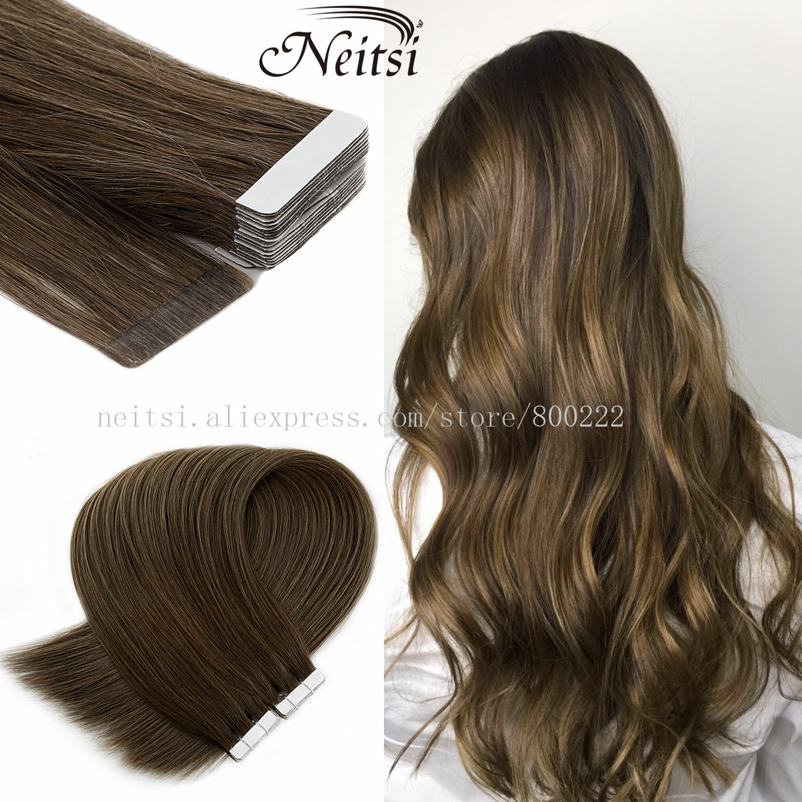 Neitsi 22 Inches 2.5g/pc Machine Remy Tape In Human Hair Extensions Seamless Skin Weft Hair Straight 100% Human Hair 20PCS