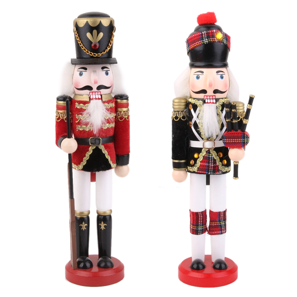 Set Of 2 Xmas Nutcracker Guard Soldier & Bagpipes Soldier Walnut Puppet Toy