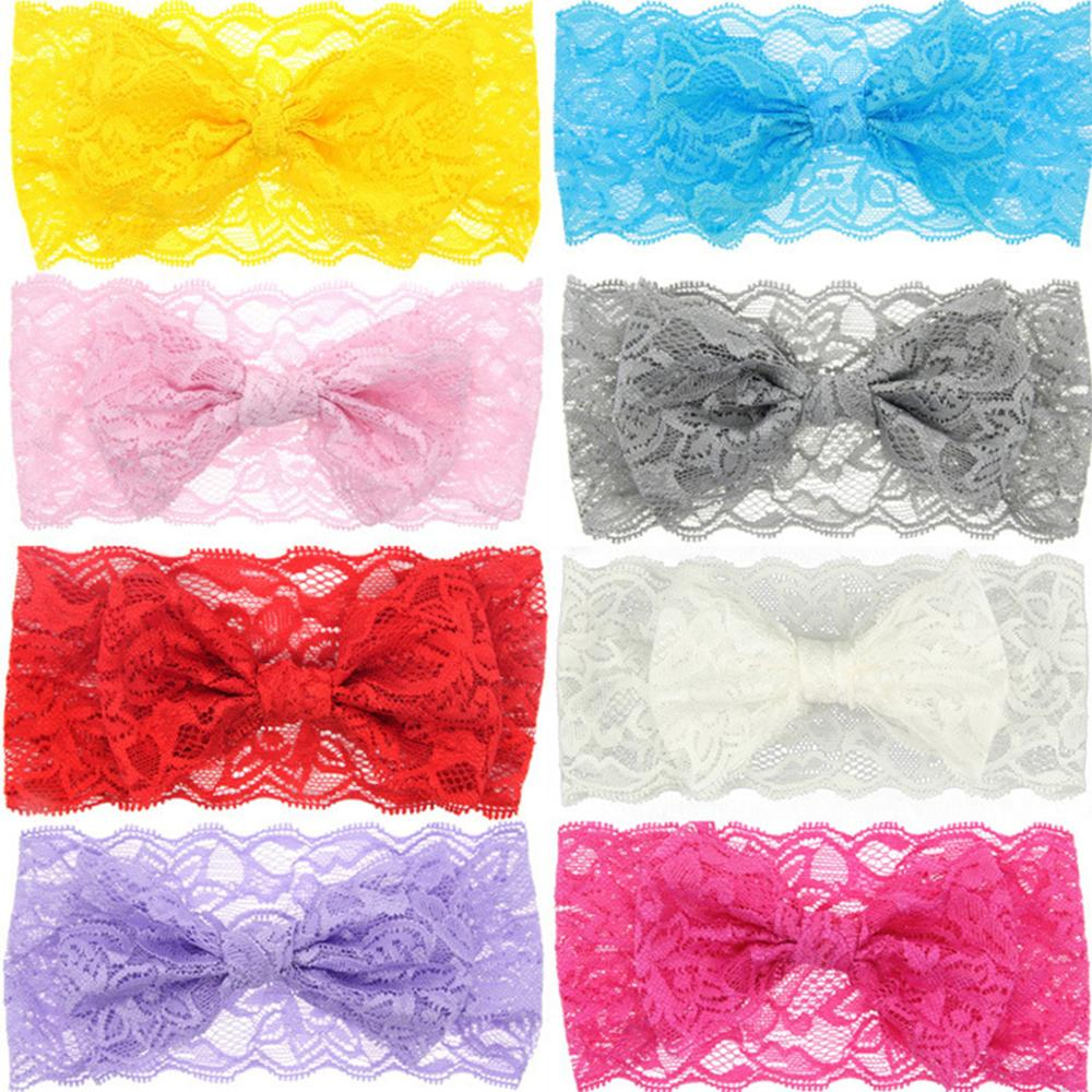 2019 Hollow Lace Baby Headbands For Girls Warp Colorful Handmade Bow Baby Hairband Elastic Wide Turban Hair Accessories Newborn