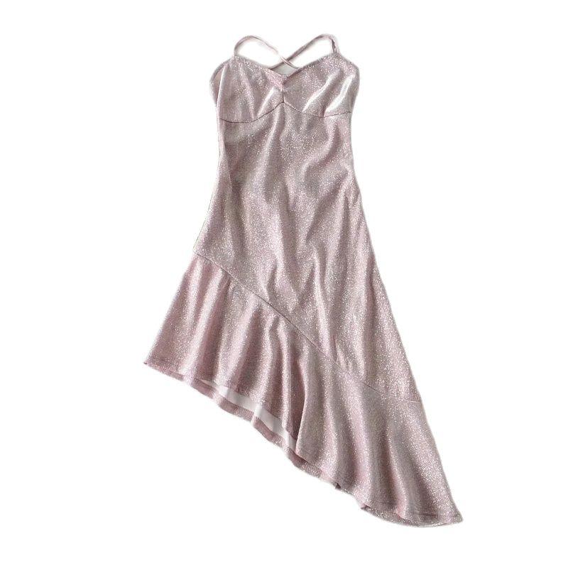 Sexy Party Dresses Backless Asymmetry Ruffle Sling Sleeveless Hem Summer Spaghetti Strap V Neck Women Slim Shiny Mini NZ0135