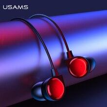 USAMS douszne słuchawki 3.5mm metalowe Hifi przewodowy zestaw słuchawkowy z mikrofonem Stereo przewodowe słuchawki douszne z mikrofonem zestaw słuchawkowy do iphonea Huawei xiaomi