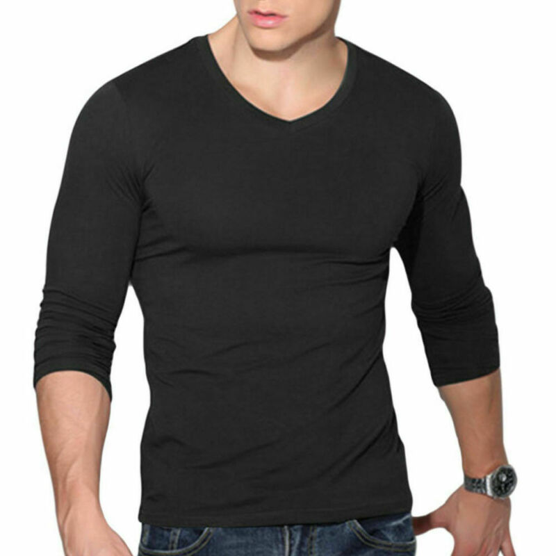Hot Sale Men's V Neck Long Sleeve Shirt Slim Fit Casual Solid Color Basic Tee Shirts Solid Color Black White Red Men Tops