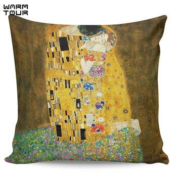 Gustav Klimt Подушка-поцелуй чехлы Чехлы с рисунком наволочки с квадратным принтом