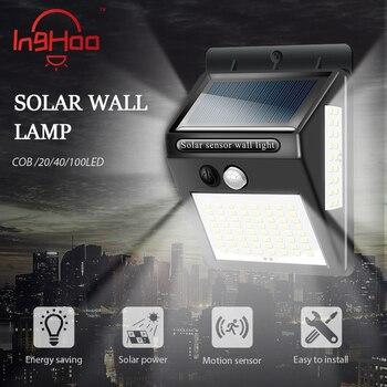 Luz de calle de inducción de luz por movimiento PIR Solar para exteriores, impermeable, de ahorro de energía, luz de pared inalámbrica de emergencia inkhoo COB/20/40/100