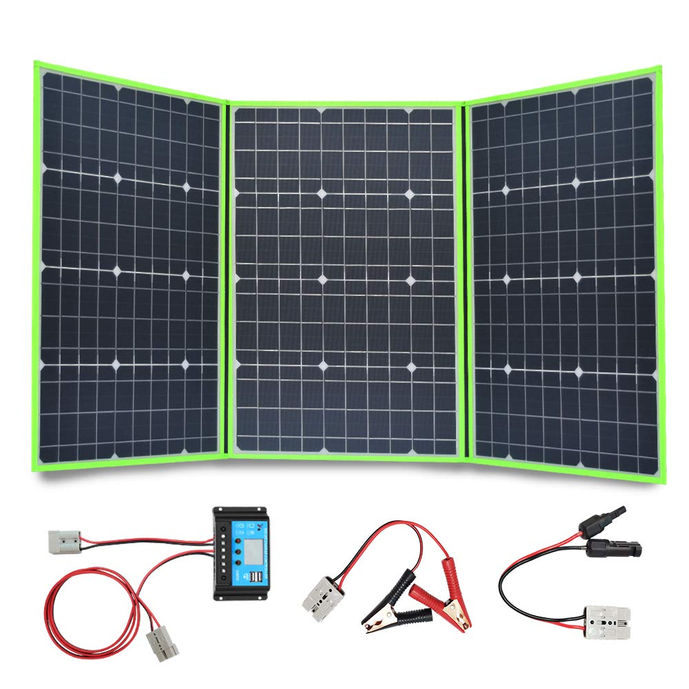 100w 150w 200w <font><b>300w</b></font> 18v/20v <font><b>solar</b></font> <font><b>panel</b></font> foldable flexible portable home kit outdoor charger controller 5v usb 12v car RV battery image