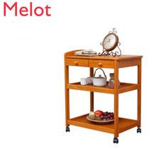 Solid Wood Moving Dining Car Household Trolley Trolley Delivery Car Kitchen Rack Three-storey Tea Car Drinking Car
