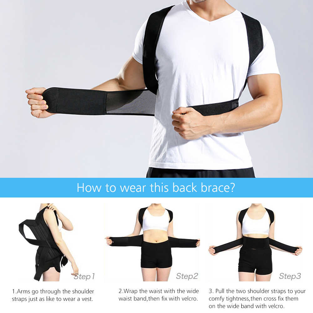 2020 geri bel duruş düzeltici ayarlanabilir yetişkin düzeltme kemeri bel eğitmen omuz bel Brace omurga destek kemeri yelek