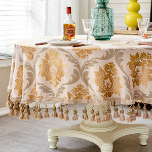 Image 3 - European style Luxury jacquard Tablecloth With Tassel for Wedding Birthday Party Round Table Cover Desk Cloth for home decor