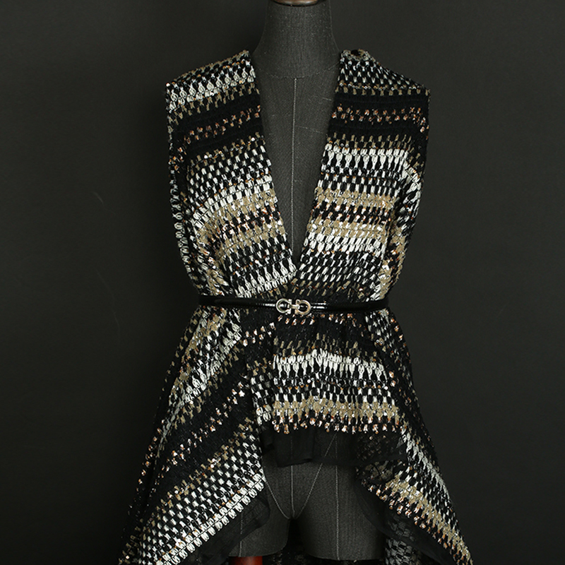 145CM de large 420 G/M poids rayure tricoté Tweed Polyester Paillette tissu pour automne printemps manteau veste robe DE1216