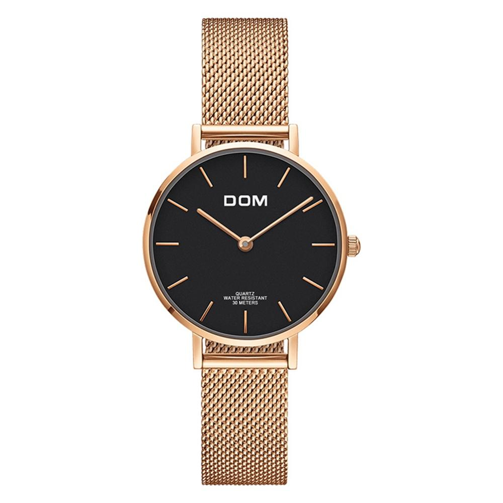 Image 5 - DOM Top Brand Luxury Women Watches Waterproof Business Rose Gold Stainless Steel Ladies Quartz Wrist Watch Reloj Mujer G 36G 1M1Womens Watches   -
