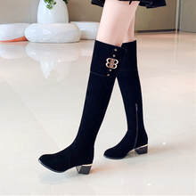 Plus Size 34-43 New Fashion Faux Suede Slim Over-the-knee Boots Winter Women Sexy Thigh High Female Heel