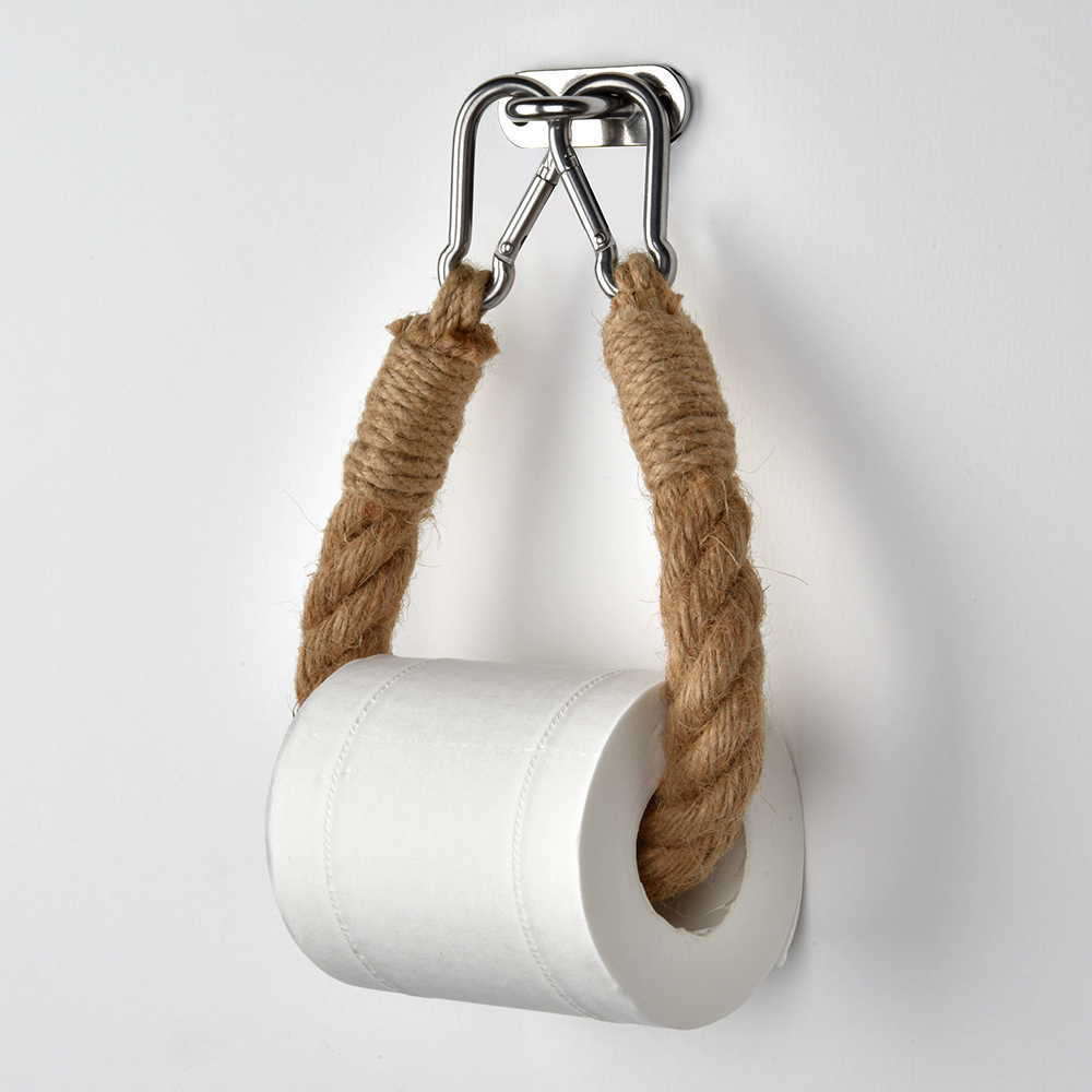 Retro Kitchen Roll Paper Accessory Towel Hanging Rope Toilet Paper Holder Stainless Steel Bathroom Decor Rack Holders