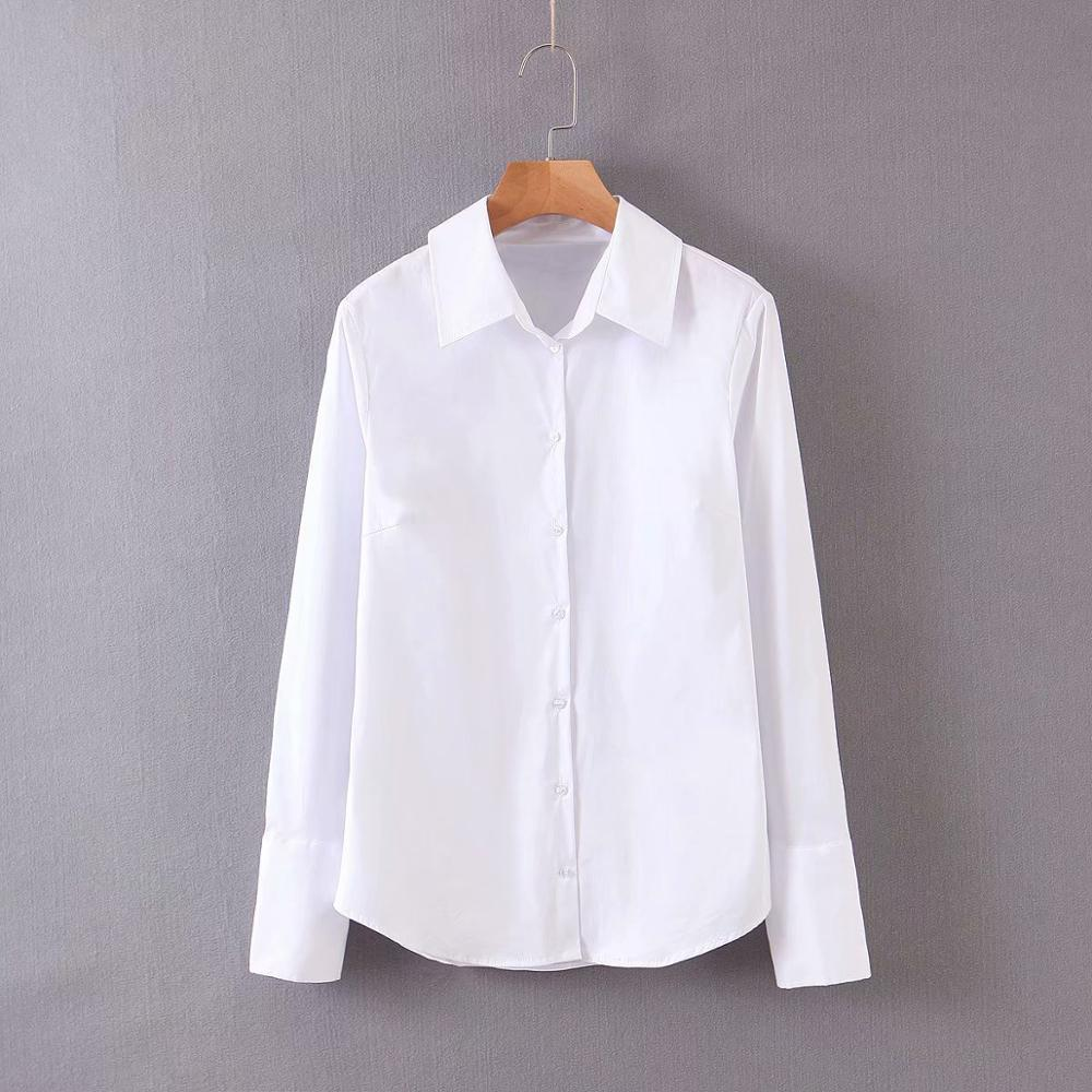 2020 Women Basic Solid Color White Blouse Office Lady Turn Down Collar Business Shirt Casual Slim Femininas Poplin Tops LS6237
