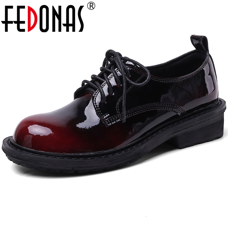 FEDONAS Women Classic Design Platforms Shoes Patent Leather Party Working Shoes Spring Summer Four Season Shoes Woman