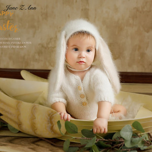 Image 3 - Jane Z Ann 3 6 month baby photo costume  infant handmade knitted bear bunny clothes Oil painting series theme studio accessories