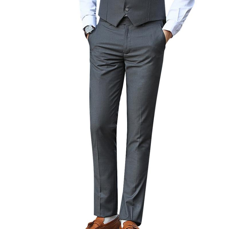 CYSINCOS Dress Suit Pants Men Men Solid Business Trousers Office Casual Social Pants Men's Classic Trousers Pantalones Hombre