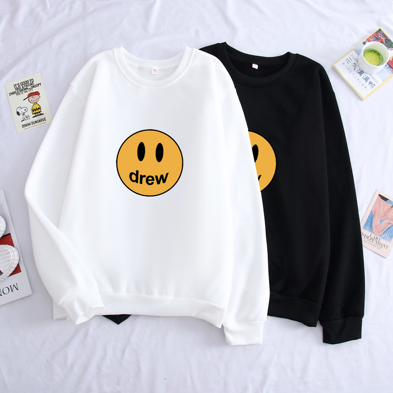NEW JUSTIN BIEBER Drew House Pullover Hoodies Hip Hop Men Women Smiley Face Logo Fleece Autumn Winter O-neck Jumper Sweatshirts