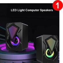 Altavoces de ordenador X2 para PC, ordenador de sobremesa, portátil con Subwoofer, LED, iluminación colorida, sistema de cine en casa, SoundBox con cable USB