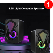 X2 Computer Speakers For PC Desktop Computer Laptop with Subwoofer LED Colorful Lighting Home Theater System USB Wired SoundBox