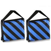 Gorący 3c zestaw dwóch czarno niebieskich ciężkich torba z piaskiem fotografia Studio wideo etap Film Sandbag dla lekkich stojaków wysięgnik ramiona statywy