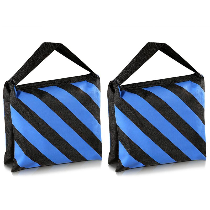 Hot 3C-Set Of Two Black/Blue Heavy Duty Sand Bag Photography Studio Video Stage Film Sandbag For Light Stands Boom Arms Tripods