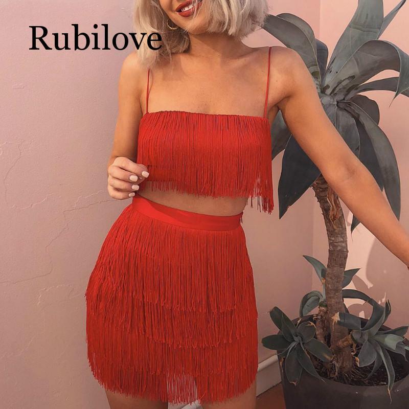 Rubilove Tassel Strapless Sexy Two Pieces Set  Bandage Dress 2019 Red White Summer Women Elegant Mini Club Party Dresses