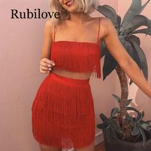 Rubilove Tassel Strapless Sexy Two Pieces Set  Bandage Dress 2019 Red White Summer Women Elegant Mini Club Party Dresses
