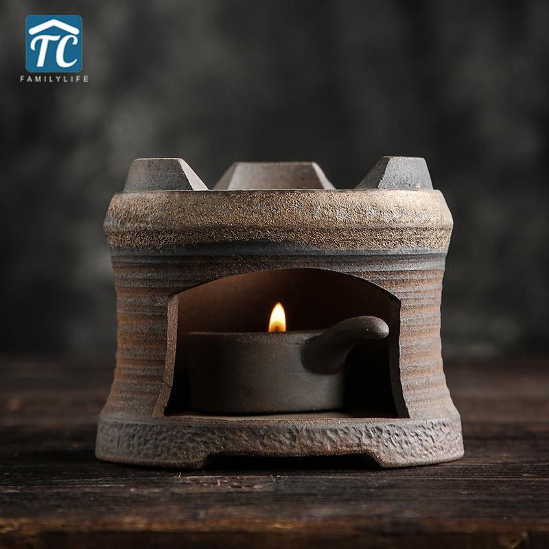 Tea Warmer Candle Tea Warming Japanese Stoneware Tea Stove Teapot Insulation Base Teapot Heating Retro Tea Making Warm Heater