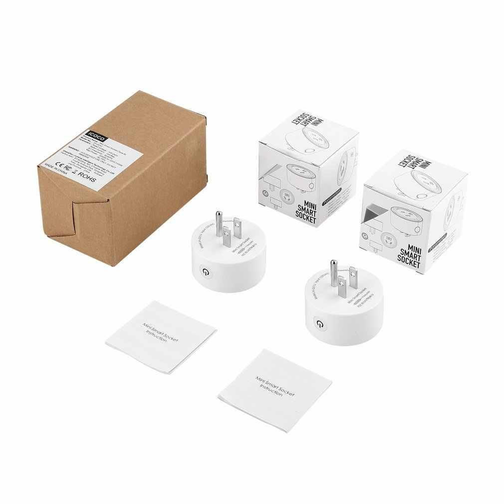 2 sztuk okrągły kształt Mini inteligentne gniazdo bezprzewodowy WiFi zasilania wtyczką pilot zdalnego sterowania przełącznik rozrządu gniazdo dla systemu automatyki domowej