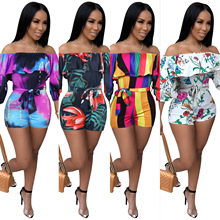 Print Summer Casual Jumpsuit Women Off Shoulder Strapless Cr