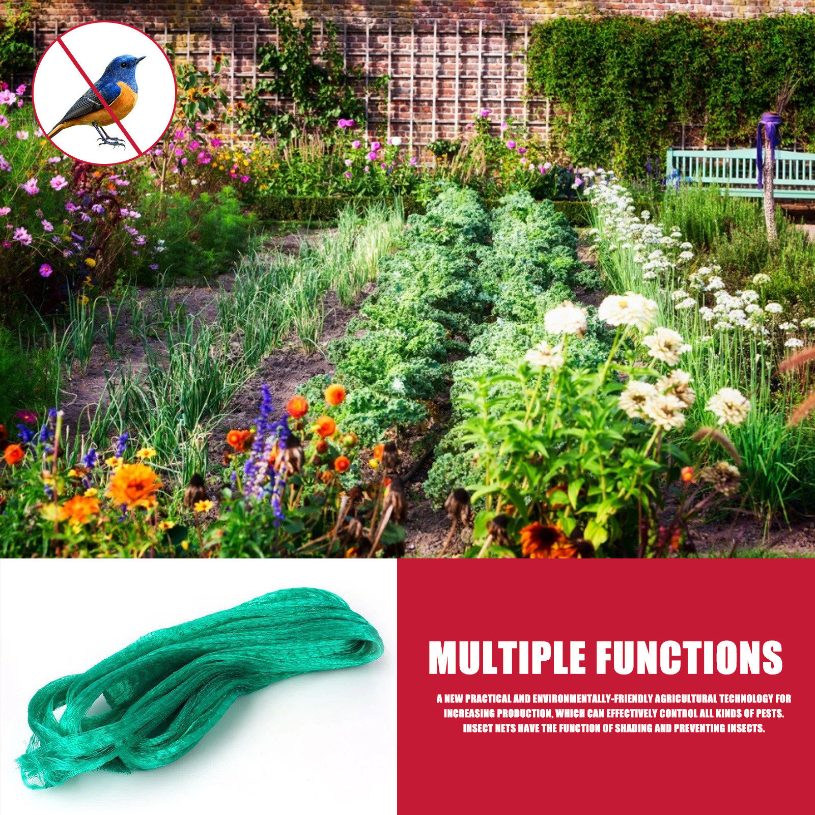 Mesh Garden Plant Netting Green Anti Bird Protection Net Protect Plants And Fruit Trees From Birds Poultry Best Insect-proof Net