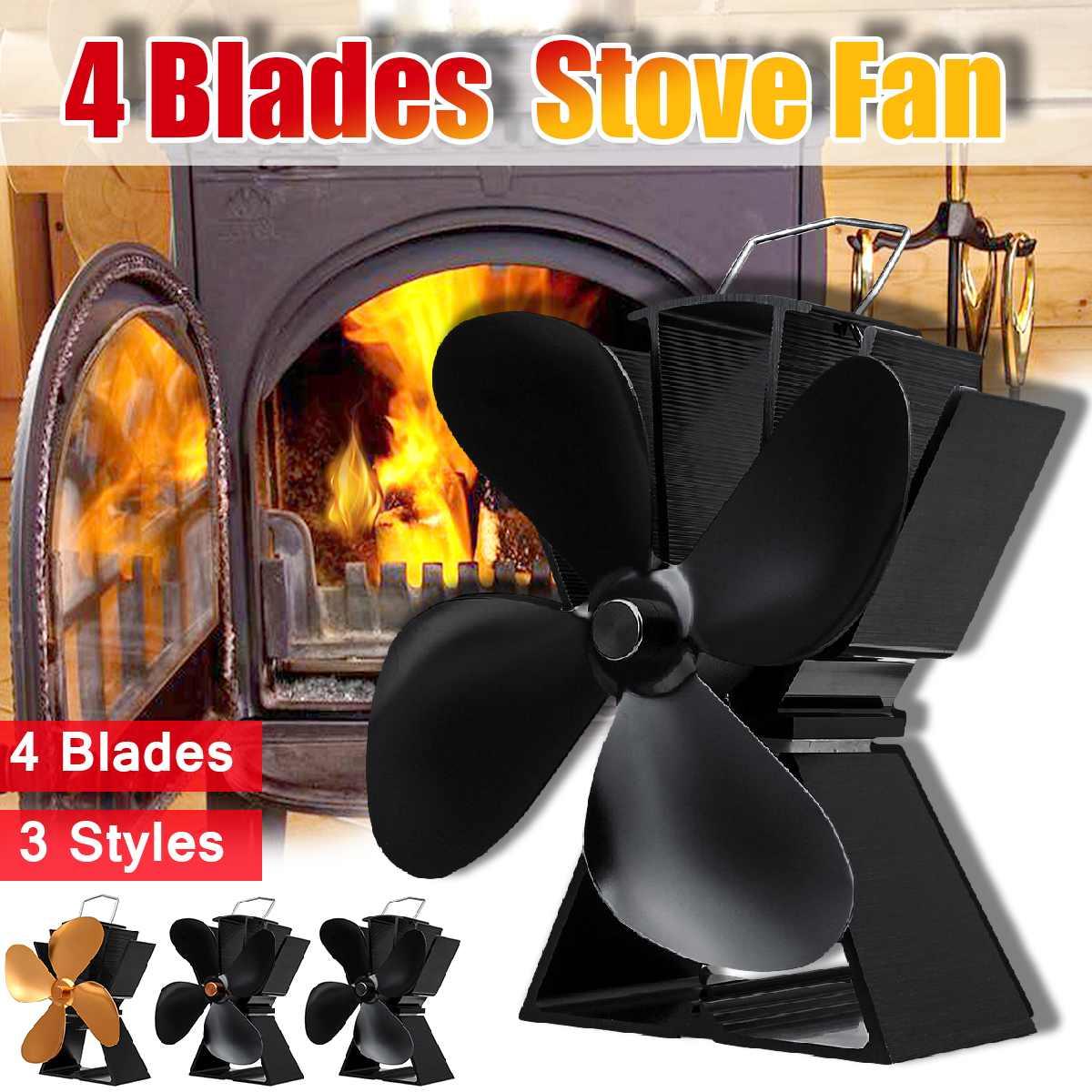 Home Fireplace 4 Blade Heat Powered Stove Fan Komin Log Wood Burner Eco Friendly Quiet Fan Efficient Heat Distribution
