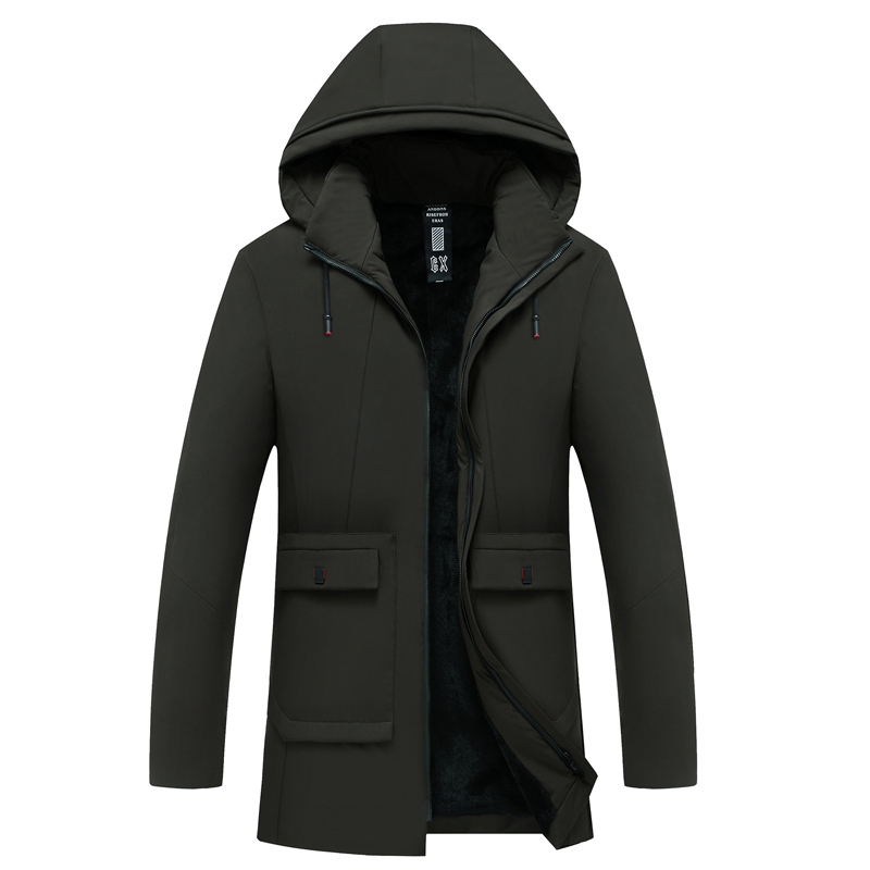 Plus Velvet Thick Long Cotton Coat Business Casual Hooded Warm Jacket Mens Winter  Parkas