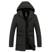Plus Velvet Thick Long Cotton Coat Business Casual Hooded Warm Jacket Mens Winter  Parkas