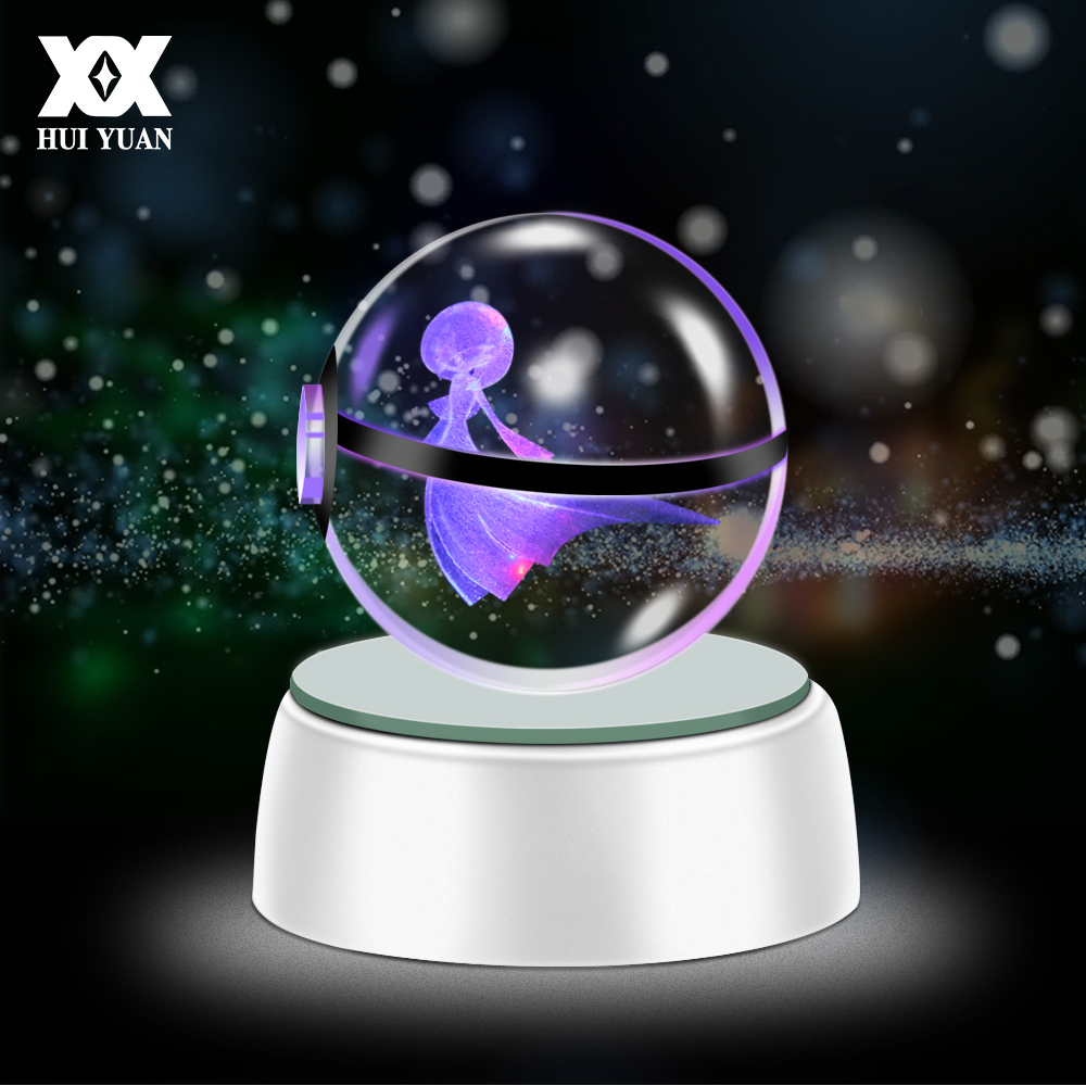 3D LED Lamp Crystal Ball Lights Desktop Decoration For Pokemon Series Eevee Gardevoir Raichu 5CM Light Glass Ball Luzes Da Noite