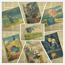 Howls Moving Castle Miyazaki Hayao Kraft Paper Prints Clear Image Room Bar Home Art painting Wall Sticker