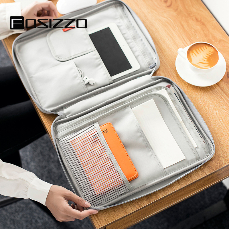 FOSIZZO Multi-functional A4 Note Book Archive File Bags Portable Water Resistant Oxford Organizers For Things FS4050
