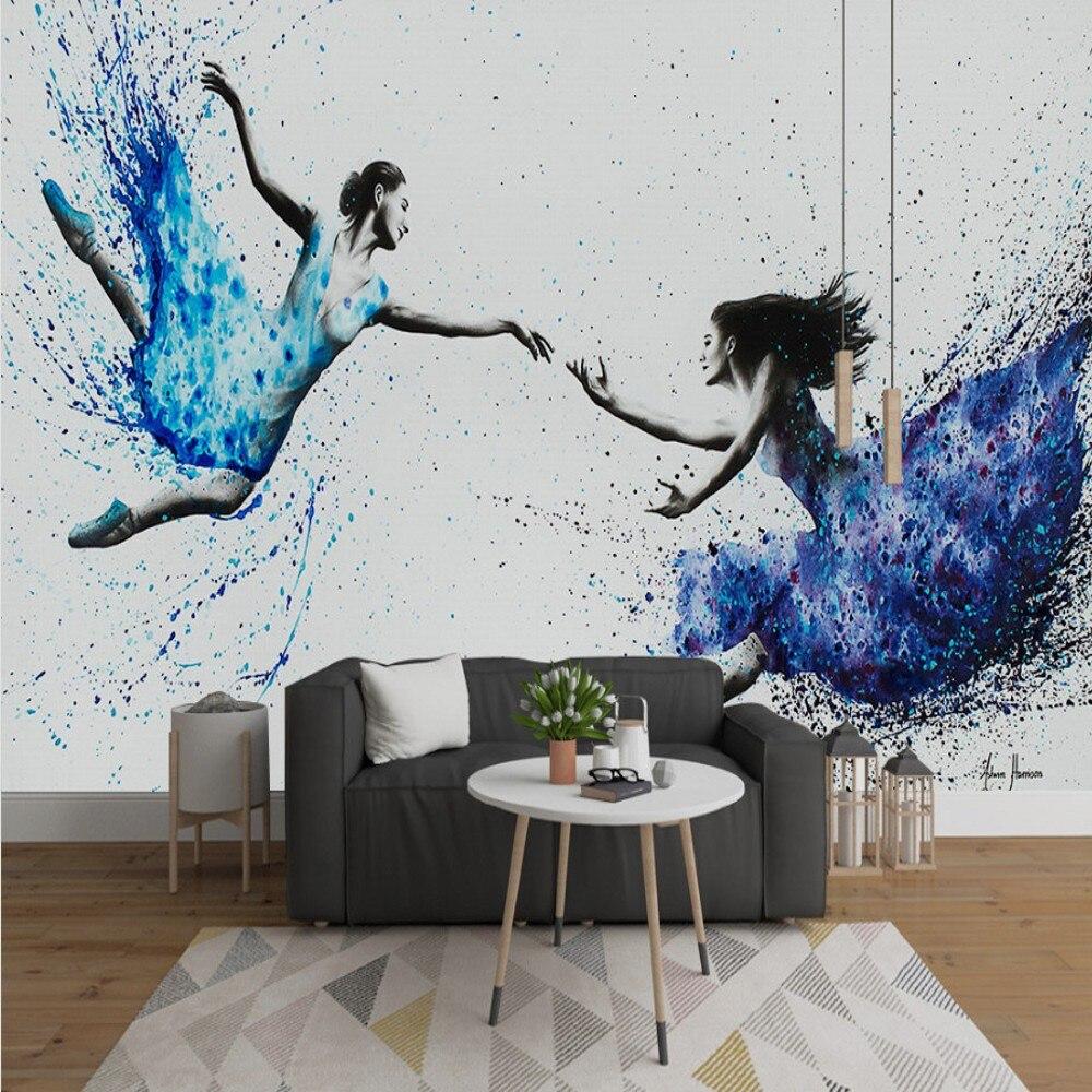 peinture-a-l'huile-murale-moderne-simple-livraison-directe-papier-peint-abstrait-personnalise-3d-pour-danseurs-de-font-b-ballet-b-font-beaute-fond-d'art-murale-de-chambre-a-coucher